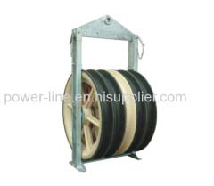 Overhead line transmission pulley cable block for stringing