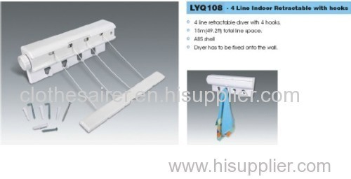 retractable dryer with hooks