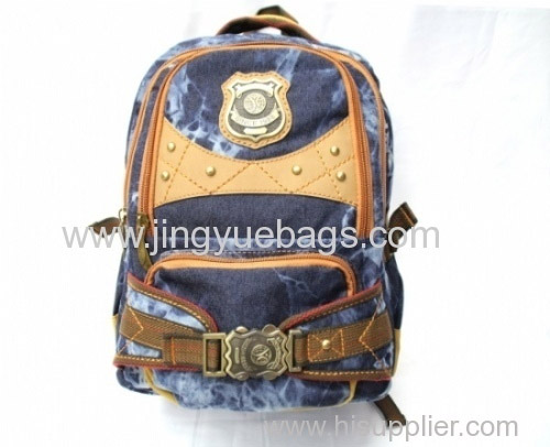 cotton washed denim backpack