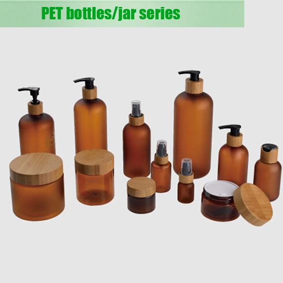 500ml large capacity amber boston round lotion pump bottle