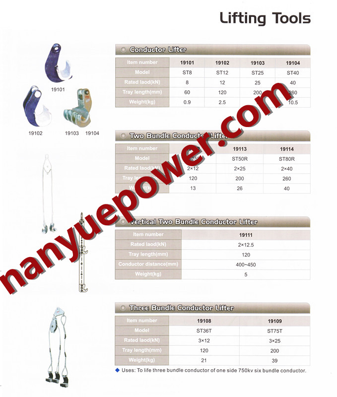Overhead Electrical Conductors List : Conductor lifting hoist tackle for three