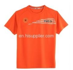 Orange low round neck T-shirt orange