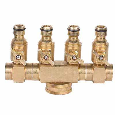 "4-ways 360 degree turning regular brass Hose Connector with 3/4"" thread inlet"