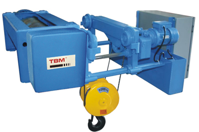 TBM low heardroom electric rope wire hoist (4/1 rope reeving)
