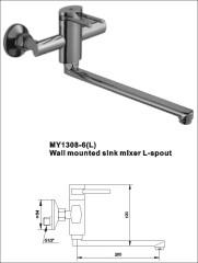 Wall mounted sink mixer L-spout