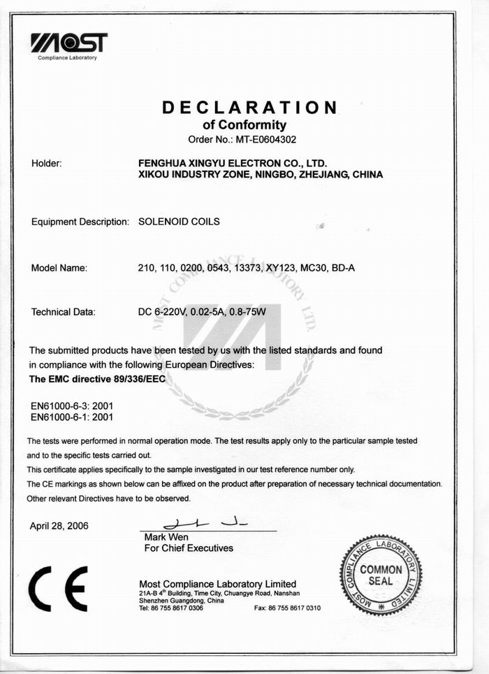 CE Certificate for solenoid coil