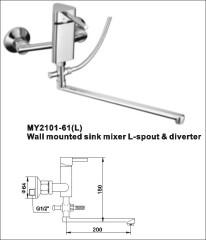 wall mounted sink mixer l-spout &diverter