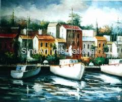 Shipside Oil Painting
