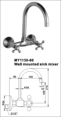 Wall mounted sink mixers taps