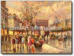 Knife Oil Painting-Paris Street