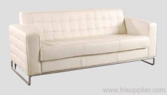Sofa with leather strip