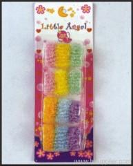 12pc Hair Bands W/Glitter Card