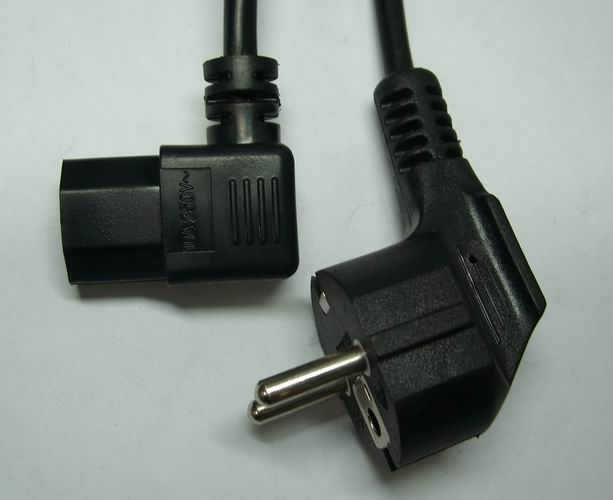 Angled IEC C13 connector