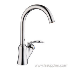 Single-lever high arch sink faucet