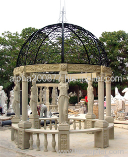 Hand carved garden stone gazebo
