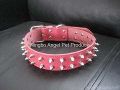 Pet cowskin collar with spikes