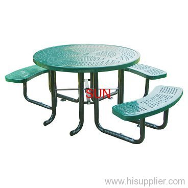 perforated metal table