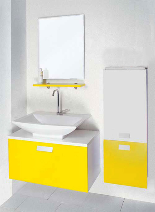 Yellow Lacquered Bathroom Cabinet