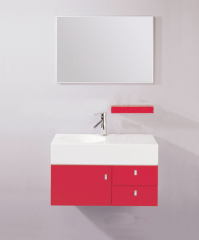 Red Bathroom Vanity Cabinet