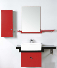 Red Lacquered Bathroom Cabinet