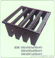 Rigid plastic header frame for air filters