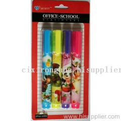 Retractable highlighter pens