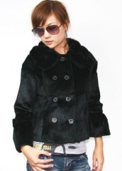 short rabbit fur coat