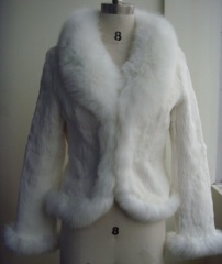 Ladies' Rabbit Fur Coat With Fox Fur Collar