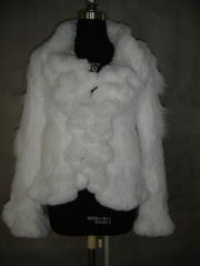 Ladies' Knitted Rabbit Fur Jacket with blue fox fur trims