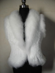 Ladies' Knitted Rabbit Fur Jacket with blue fox fur collar