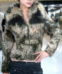 Ladies' Lamb fur coat with racoon fur colllar