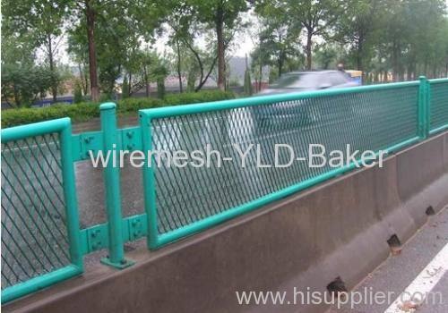 blue PVC coated expanded metal fences