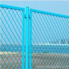 blue painted expanded metal fences