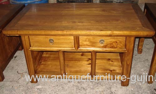 Chinese Elm Wood Bedside Table