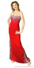 Beaded Satin Evening Dress