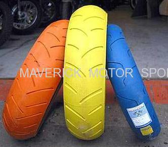 different color motorcycle tires with