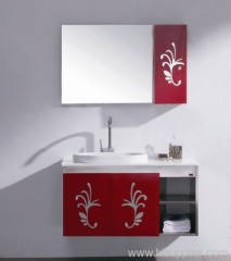 red bathroom vanities