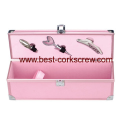 Pink Wine Set in Aluminum Box