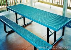 PE coated expanded metal picnic tables