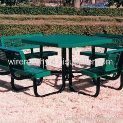 green pvc coated expanded metal mesh chairs