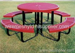 round expanded metal mesh tables