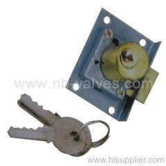 Square brass drawer lock