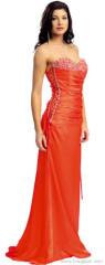 Sexy Beaded oranje korset Prom jurk