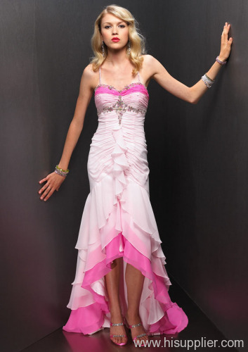 pink and white evening dress