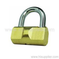 Brass hammer padlock with harden shackle