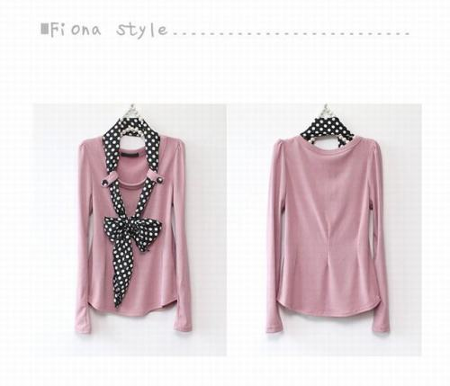 women's fashion T-shirt with scarf