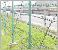 PVC coated barbed wire fences