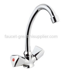 Two Handle Faucet With Stainess Steel Spout