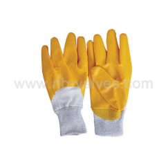 Semi-submerged yellow nitrile glove