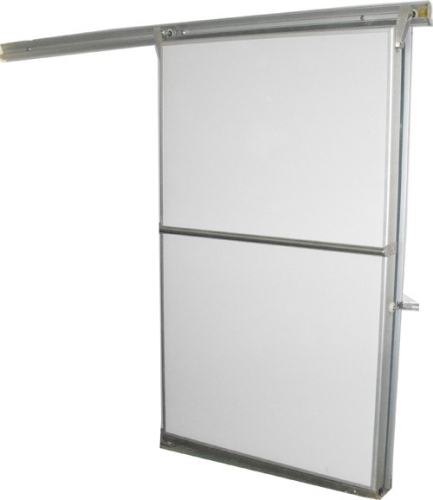 light type sliding freezer doors with white coated door panels